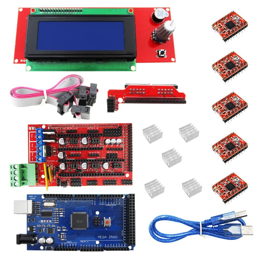 1pcs Mega 2560 R3 + 1pcs RAMPS 1.4 Controller + 5pcs A4988 Stepper Driver Module /RAMPS 1.4 2004 LCD control for 3D Printer kit elecfreaks 3d printer ramps reprap exaltation kit