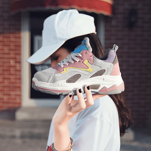 7b9672faef5878 Women s Chunky Sneakers 2018 Fashion Women Platform Shoes Lace Up Pink  Female Trainers Dad Shoes Bambas