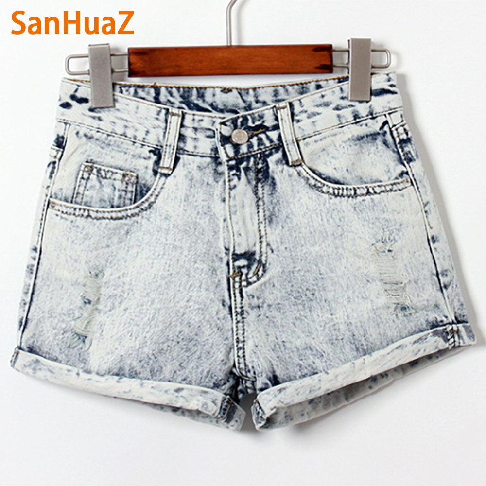 SanHuaZ Hot 2017 Summer Spring New Fashion Casual High Waist Sexy Slim Cuffs Bleached Cotton Women Jeans Denim Shorts 4pcs 7 4v 2700mah 10c hubsan h501s lipo battery batteies with cable for charger hubsan h501c rc quadcopter airplane drone spar