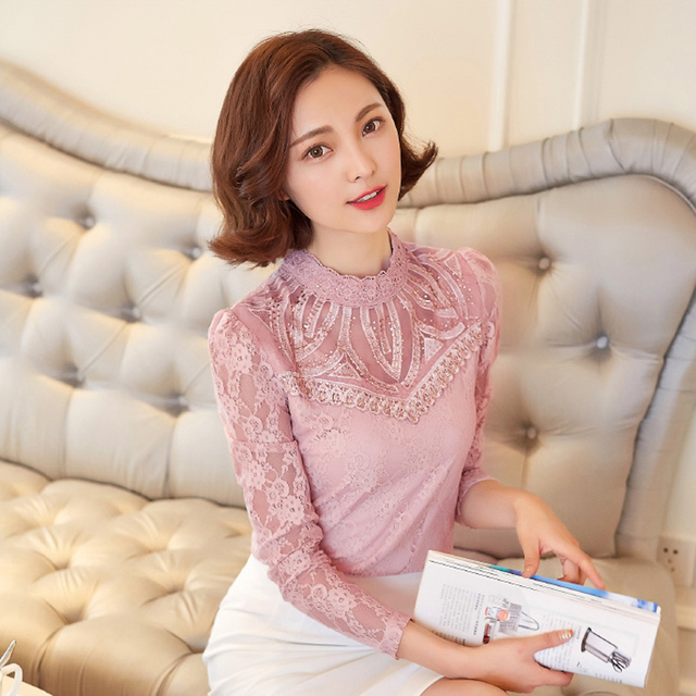 YEYELANA Women blouse 2017 Spring autumn full sleeve hollow out casual fashion lace blouse new arrival A024
