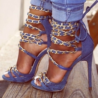 Newest Gold Chains High Heel Sandals For Woman Cross Straps Sandals Thin Heels Cut out Strappy Sandals Sexy Dress Shoes Blue
