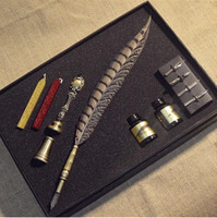MDLG Luxury Quality Vintage European Quill Stamp Feather Dip Pen Set Fountain Pen Writing InkStationery Set