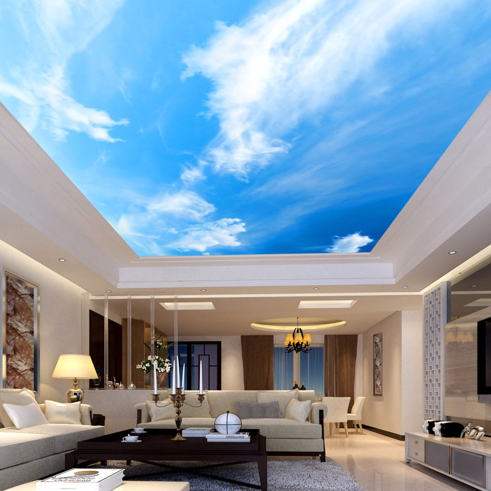 Custom 3D Ceiling Mural Wallpaper Room Landscape Blue Sky And White Clouds Hotel Restaurant Sitting Room Ceiling Wall Papers