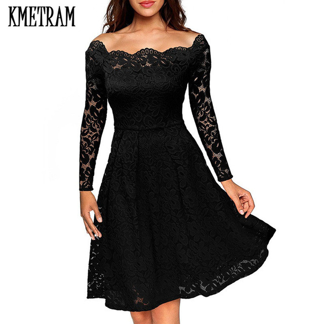 2018 European Style Spring Women Sexy Lace Dress Black Off Shoulder Dresses  Wine Red Party Vestidos 2b8ecfa1b102