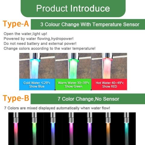 LED Faucet Light Temperature Sensor Intelligent Recognition Temperature Different Colorful LED Light Color Water Tap Shower Lahore
