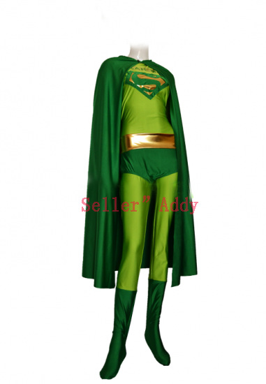 Green Superman Costume Green Spandex Lycra Superman Outfit with Cape
