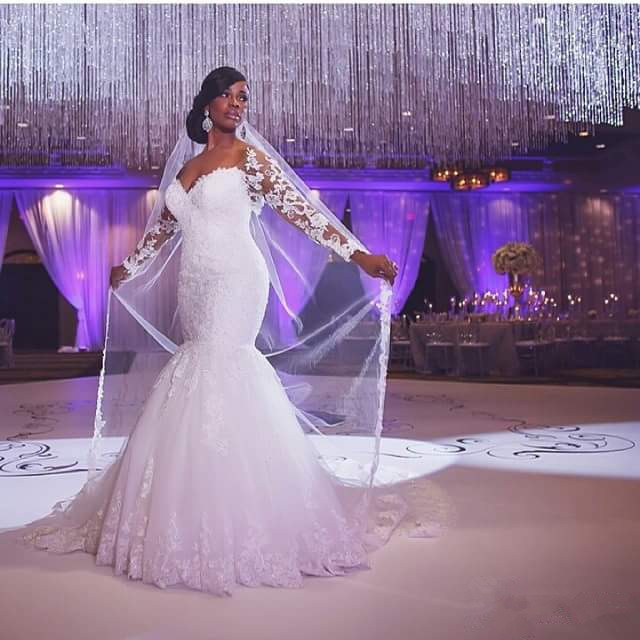 Nigerian Bride White Wedding Dress For Church Absolutely Fabulous Sweetheart Lace Long Sleeve Mermaid Dresses