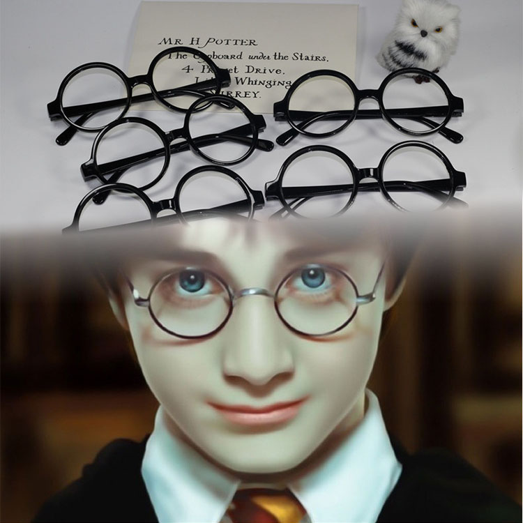 HP Harri Glasses Action Figure Toys Cosplay Party Accessories Gift For Fans Black Harri Adults Glasses Frame Halloween Party Toy