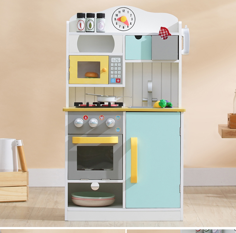 Играть дома игрушки Кухня игрушки детские игрушки Голубой деревянный набор Приготовление Риса настольная Имитация Модель игрушечная кухо