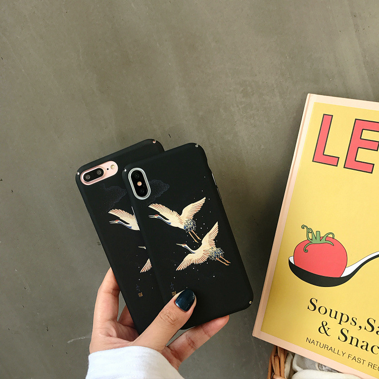 6.1 Fashion Japanese Crane Bird Phone Case for iPhone 6 6PLus 6S 7 8 Plus X XS Max XR Cases Black Hard Plastic Glossy Back Cover,A,for iPhone XR