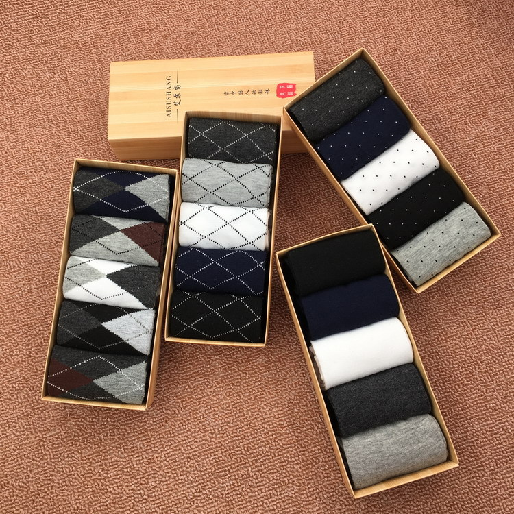 Men's four seasons in the tube solid color men's socks boxed cotton socks breathable sweat business socks usa gifts for men