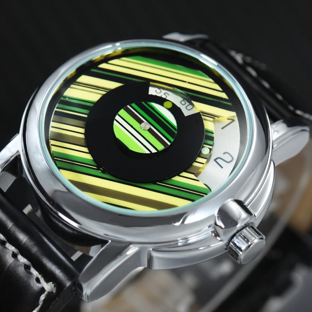 GEWINNER 2018 Auto Mechanische Uhr Männer Leder Band Halbe Abdeckung Dreh Zifferblatt Fashion Casual Herren Uhren Top-marke Luxus