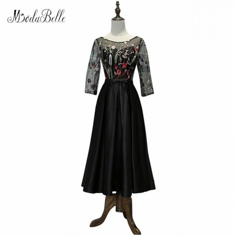 Modabelle noir filles robe de soirée formelle dentelle courte robes de bal 2017 thé longueur robes de bal une ligne robes de Gala balle Kleid Damen