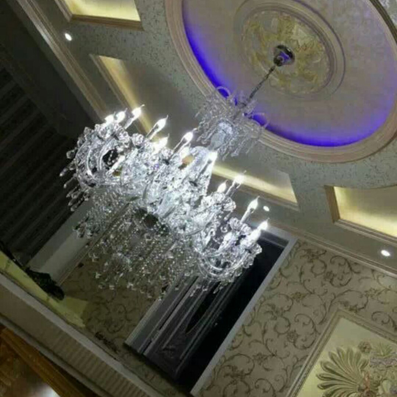 duży żyrandol z kryształowymi zawieszkami duża lampa do hotelu - Oświetlenie wewnętrzne - Zdjęcie 4