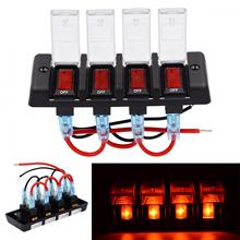 12V IP66 16A Four Bit Power Overload Protector Off Switch with Red Light and Adhesive Sticker for Automobile / RV Yacht