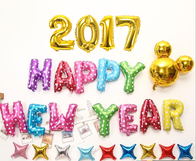 24pcs letter pack Happy New Year letters foil balloons New year