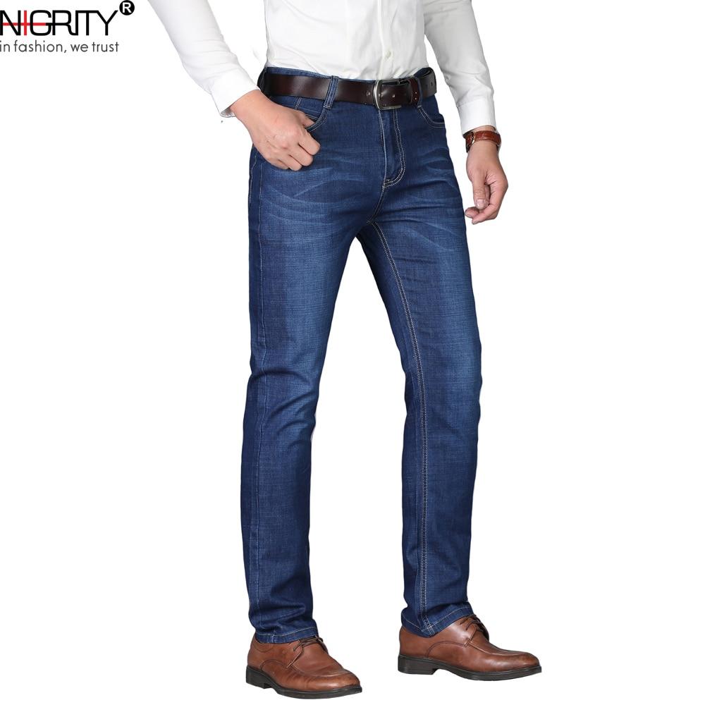 NIGRITY Man jeans 2019 New Fashion business Casual Denim Pants Men Straight cut slight stretch trousers large size 29-42 4 color denim