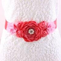 Maternity Sash Flower Sash Belt Bridesmaid Accessory Photo Prop Baby Shower Newborn Flower Belt Bridal Wedding