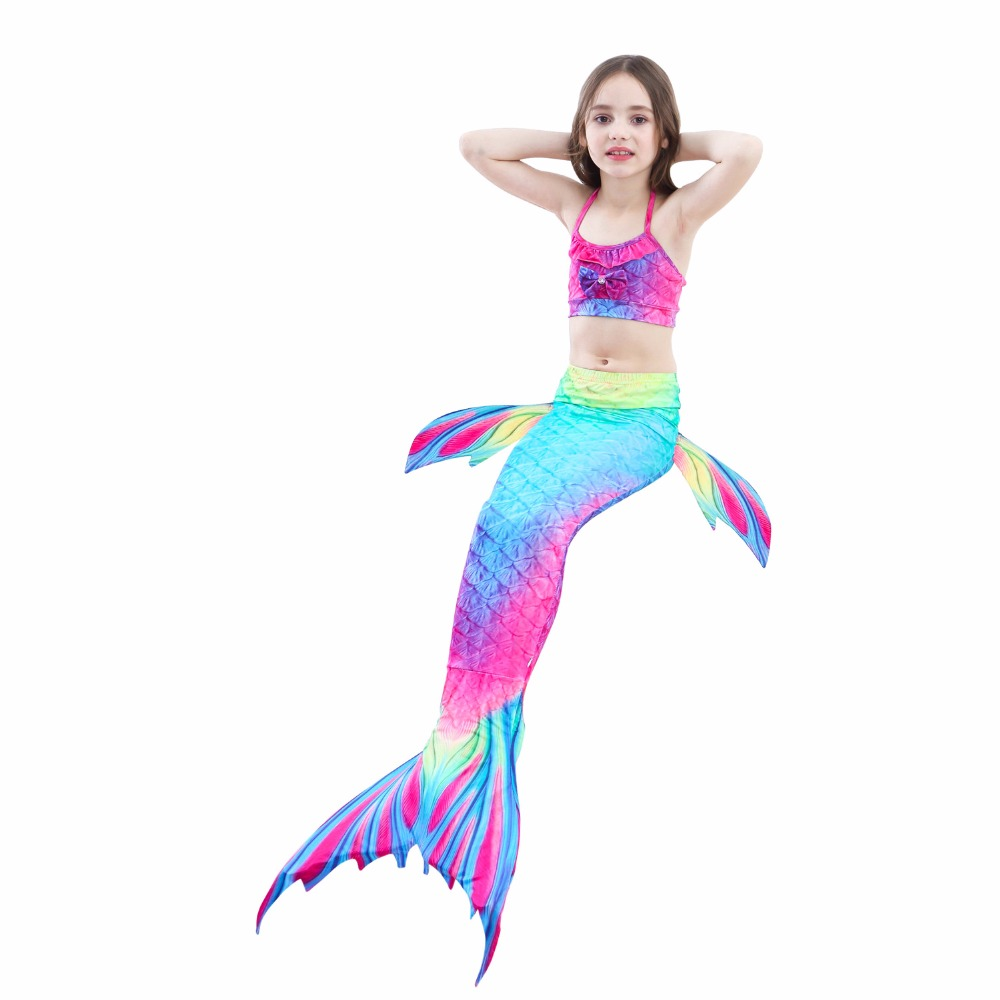 Summer Girls Kid Cute Cosplay Mermaid Tail Costume Bikini Set Dress Multicolor Bathing Suit Costumes for 2-12Y Baby Girls
