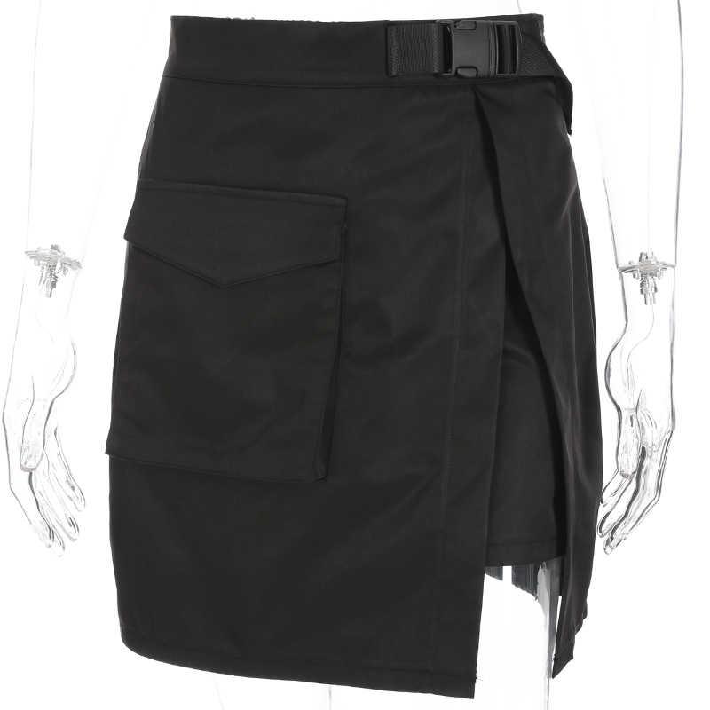 Sweetown Осень Лето Корейская мода юбки с пластиковой пряжкой ремень женская уличная черная Однотонная юбка с высокой талией Harajuku