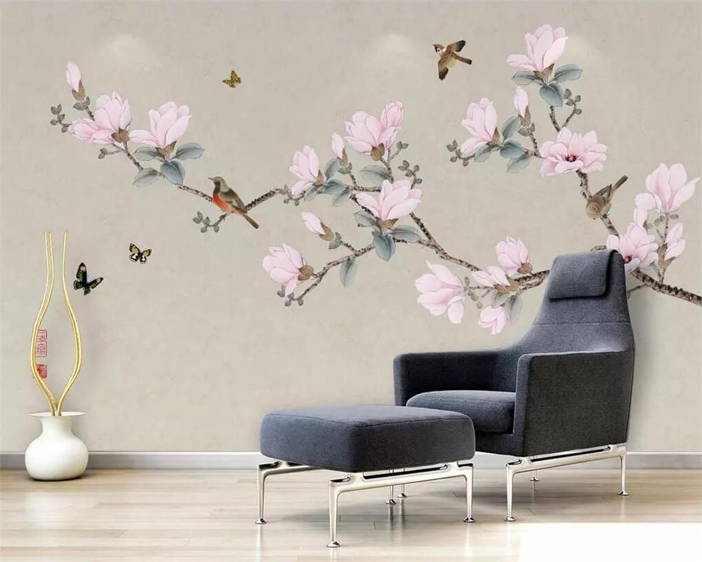 beibehang Wallpaper mural hand-painted magnolia bird TV background wall paper home decoration living room bedroom 3d wallpaper