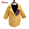 Girls Wool Coat 2017 Winter New Fashion Solid Color With Bear Coat Girl Children Long Sleeve Warm Baby Girl Clothes 6426W
