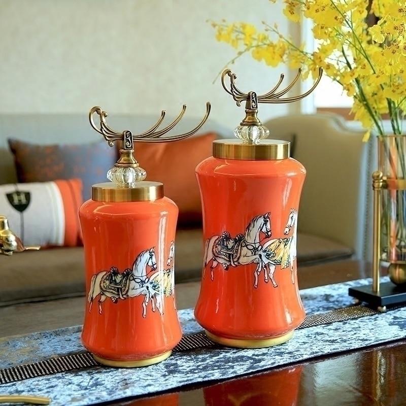 Orange Ceramic Creative Storage Jar Home Decor Crafts Room