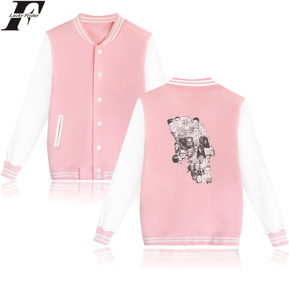 LUCKYFRIDAYF Horror Skull Baseball font b Jacket b font Pink Long Sleeve Baseball font b Jacket
