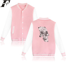 LUCKYFRIDAYF Horror Skull Baseball Jacket Pink Long Sleeve Baseball Jacket Women Men Punk Style Printed Fashion Casual Outerwear