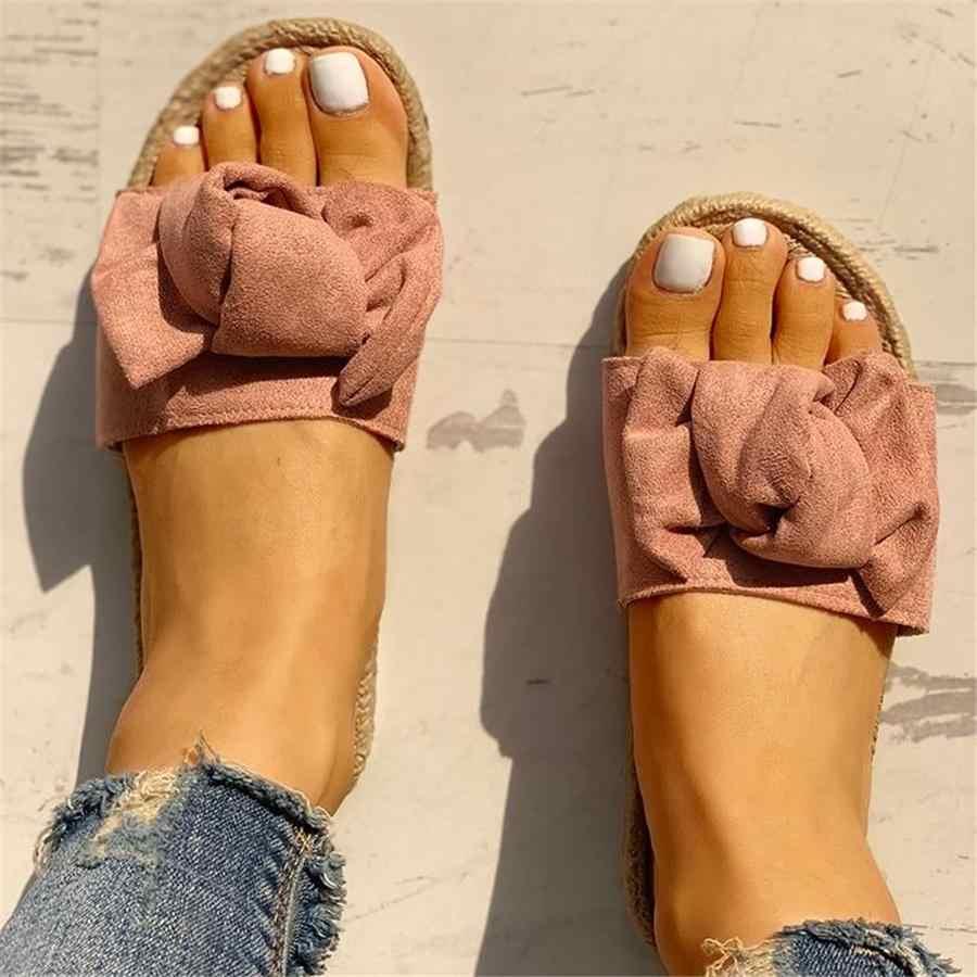 Slippers Women Slides Summer Bow Summer Sandals Slipper Indoor Outdoor Linen -flops Beach Shoes Female Fashion Floral Shoes