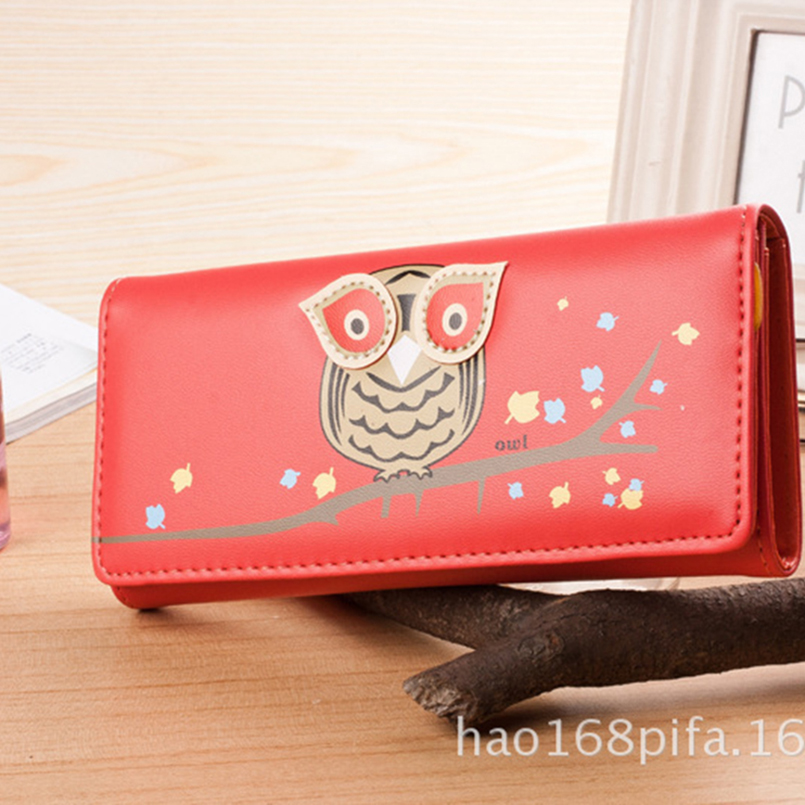 IVOTKOVA New Women Fashion Wallets Owl Long Pu Leather Female Money Purses with the Card Holder Gift for the Daughter Girl