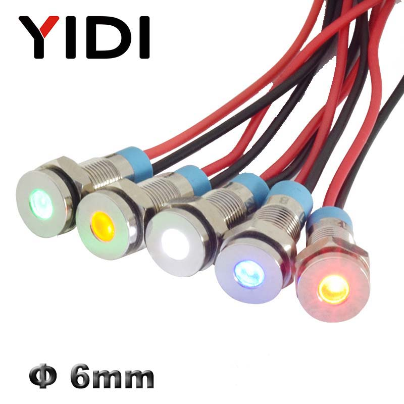 6mm Chrome Metal 12V 24V 110V 220V LED Indicator Light Pilot Lamp Red Green Blue White Yellow Panel Mounted Wire Signal Lamp