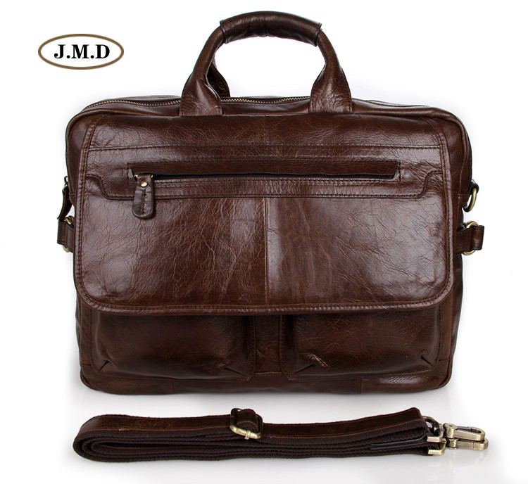 Famous Brand Genuine Leather Coffee  Laptop Bag Large Capacity Classic Briefcase Business Shoulder Bag Handbag 7085C