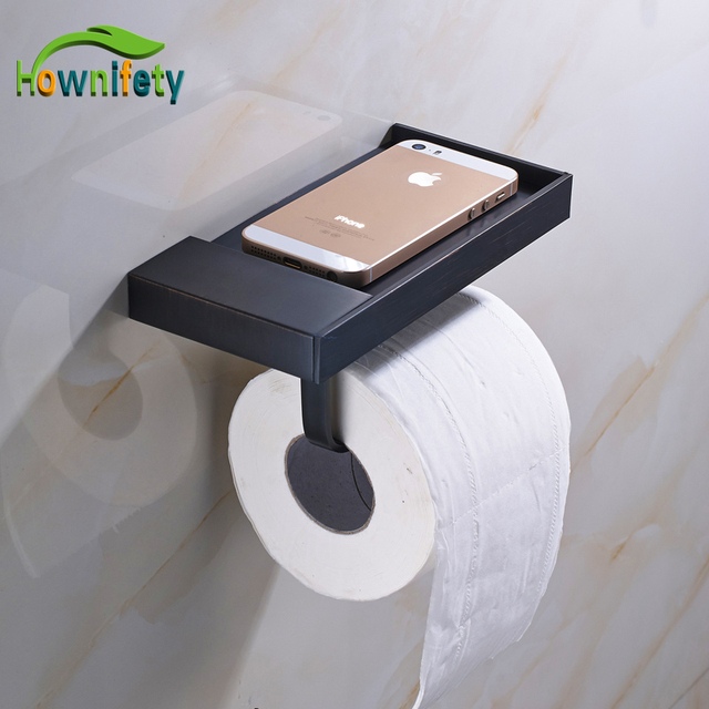 Oil Rubbed Bronze Bathroom Toilet Paper Holder With Phone Holder
