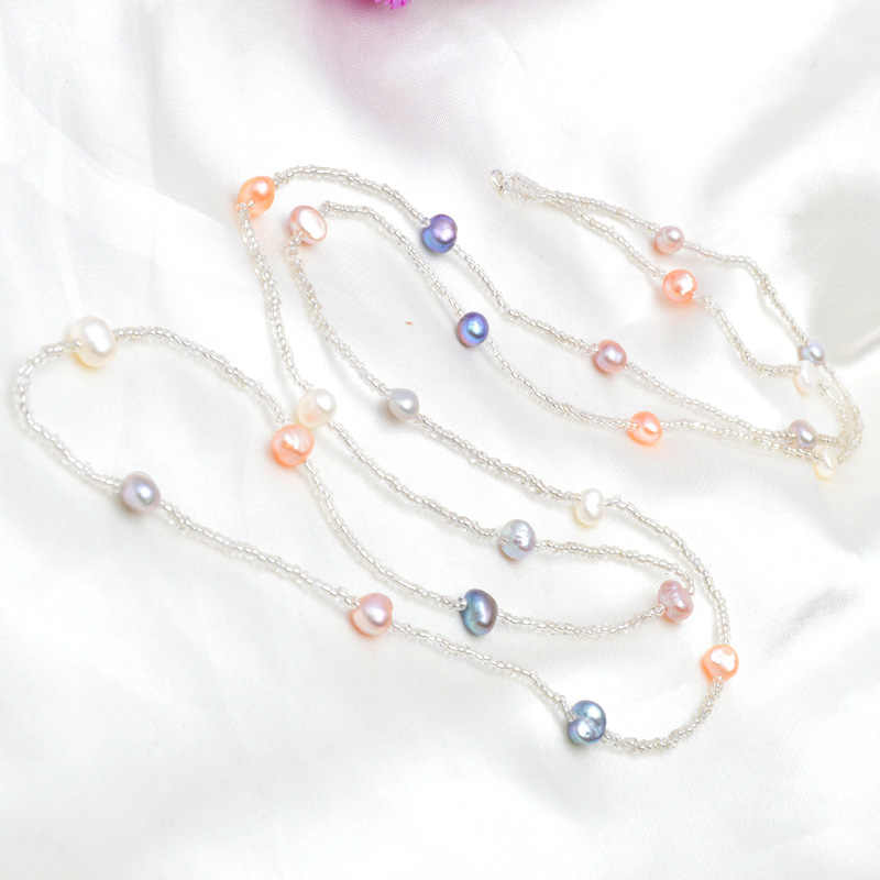 Ashiqi 120 cm longo multi cor barroco água doce pérola colar, contas de cristal colar, 925 prata esterlina fecho