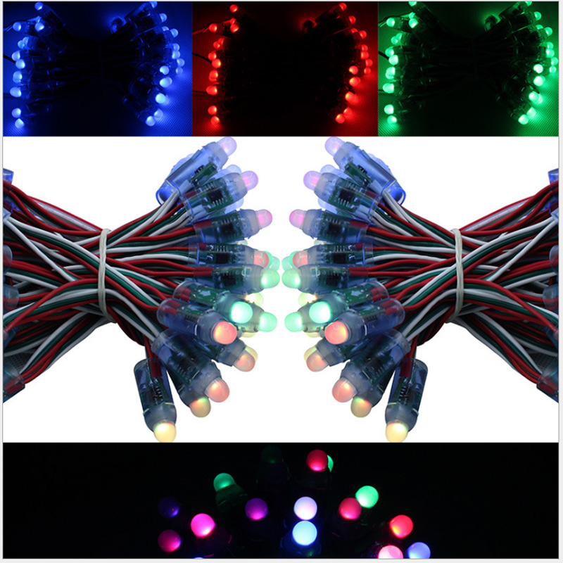50pcs 5v/12v Ws2811 Christmas Tree Color Exposed Light String Full Color Exposed Lights Rgb Point Control Magic Color Decoration
