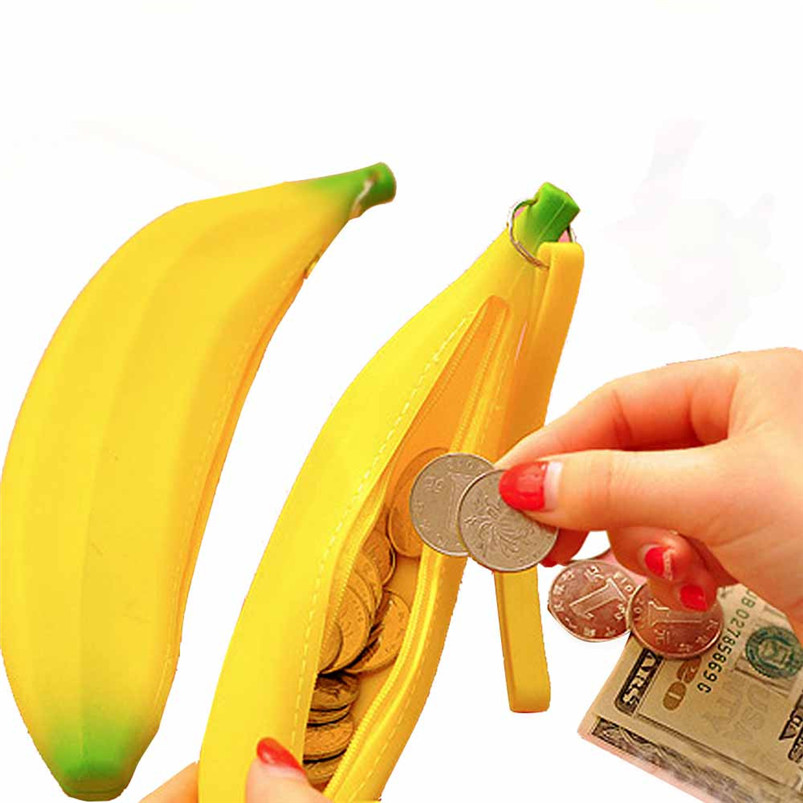 2017Newest Women Female Girls Cute Lovely Silicone Banana Tie Zipper Coin Purses Multifunctio Wallets Unique Design Coin Bags A8