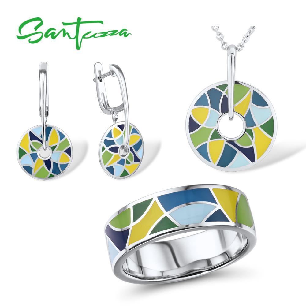 SANTUZZA 925 Silver Jewelry Set for Women HANDMADE Colorful Enamel Jewelry Set Earrings Pendant Ring Set