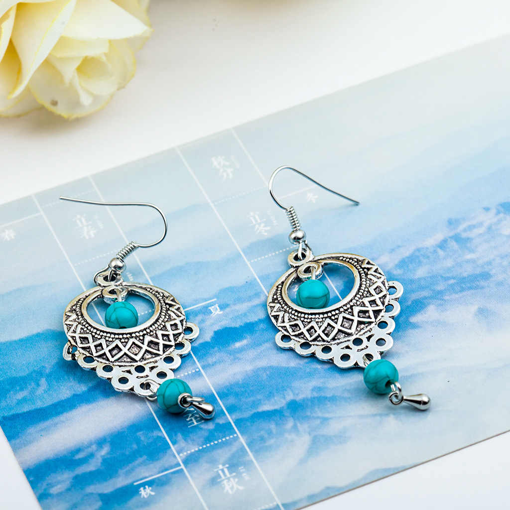 2018 Big Long Tassel Statement Charm Vintage JewelryEthnic Bohemia Drop Earrings For Women Silver Color Blue Beads Earring