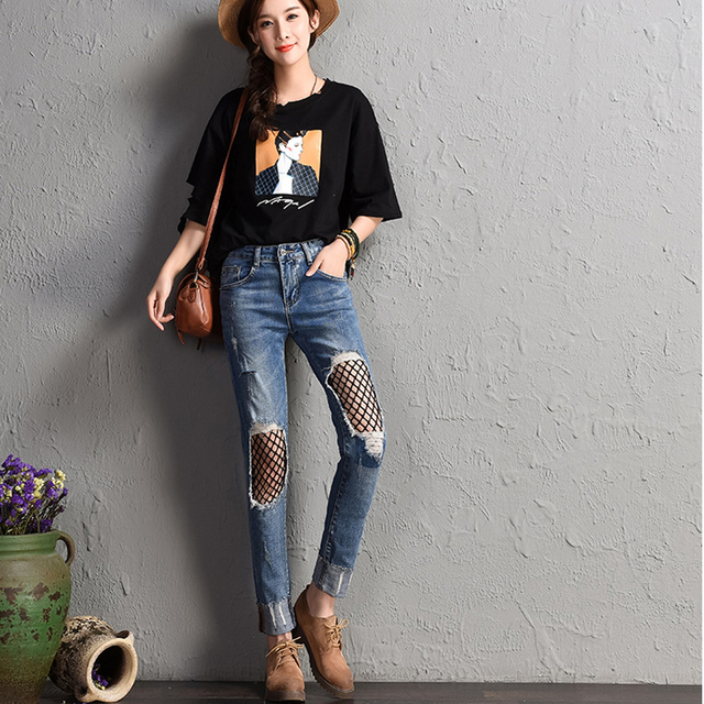 48aec8f9303 Women S Jeans With High Waist Skinny Jeans Ripped Fish Net Jeans Pant Denim  Women Cuffs Push Up Denim Trousers Ladies