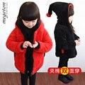 O envio gratuito de roupas de outono e inverno criança do sexo feminino amassado jaqueta criança pequena reversível chapéus do natal roupas de bebê