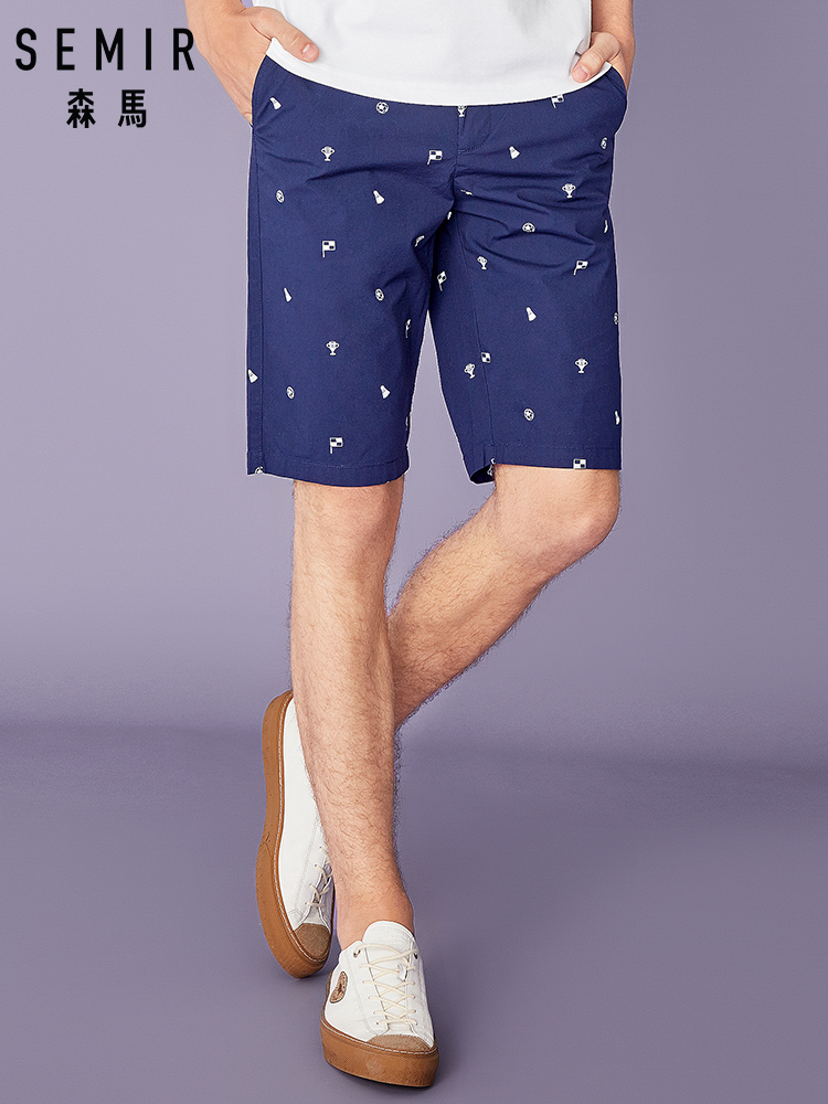 SEMIR Casual Shorts Male Students Summer New Korean Version Trend Shorts Men's Fifth Pants Straight Trend Printing