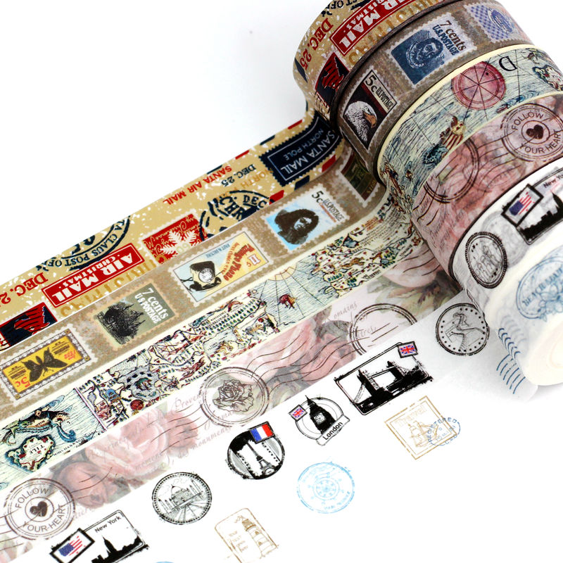10m Length Retro Washi Tape Set Vintage Map DIY Decorative Scrapbooking Masking Tape Adhesive Label Stickers For Planner Diary