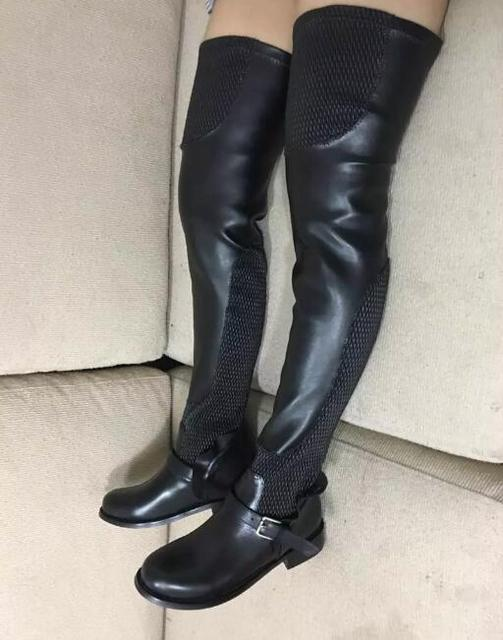 a16e3f72b Top Quality Women Thigh High Boots Plus Size Mesh And Leather Boots Over  The Knee Flat Bota Buckle Shoes Women Dro Shipping