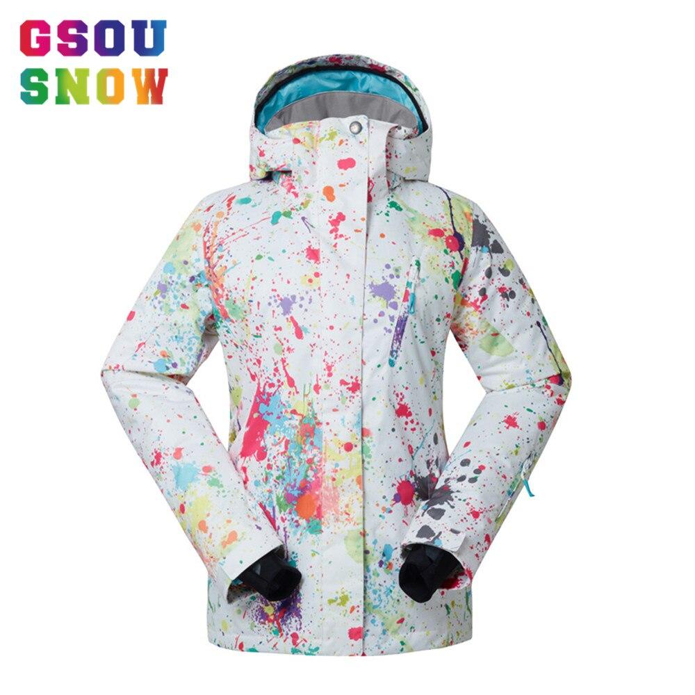 Prix pour Gsou Snow Ski Veste Femmes Épaissir La Chaleur D'hiver Snowboard Veste Pour Montagne Ski Neige Manteaux Femelle Étanche Ski Vêtements
