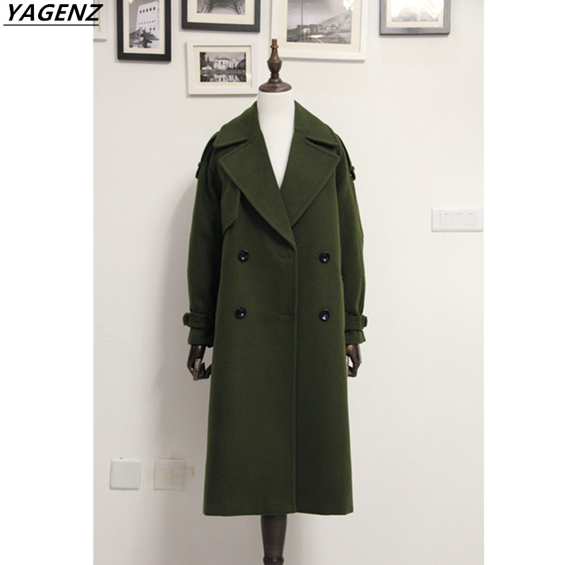 2017 Winter Women Wool Coat Long Jackets High Quality Female Woolen Blend Warm Overcoat Ladies Fashion Casual Women Coats YAGENZ 2018 new fashion suede lamb wool women coats double breasted warm solid thick long overcoat casual winter cotton jackets female