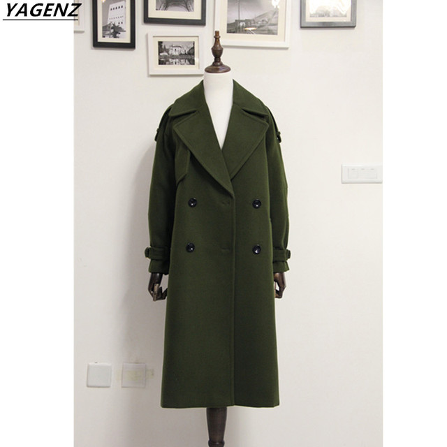 2017 Winter Women Wool Coat Long Jackets High Quality Female Woolen Blend Warm Overcoat Ladies Fashion Casual Women Coats Yagenz by Yagenz
