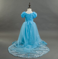 Supper Soft Cotton Blend Short Front Long Back Tailed Floor Length Tulle Kids Formal Girl Party