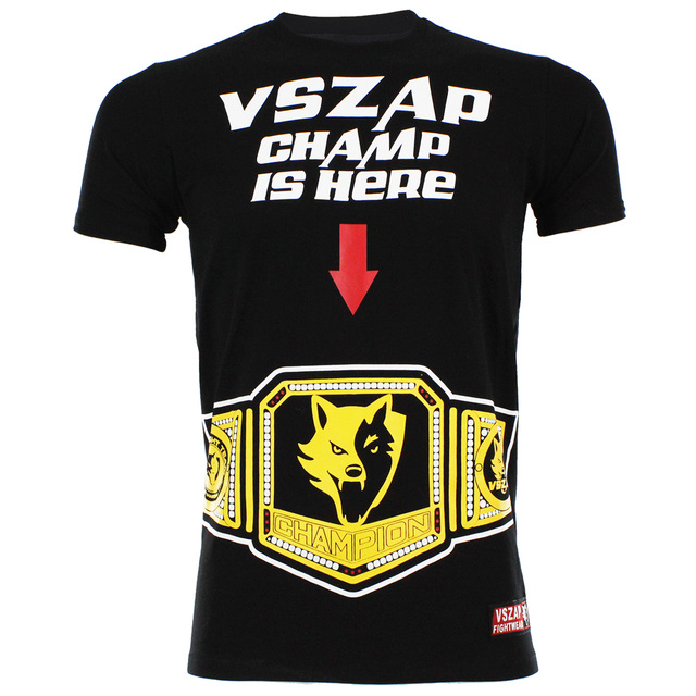 2017 New Free shipping VSZAP CHAMP IS HERE MMA T-shirt fight Thai Fitness  our