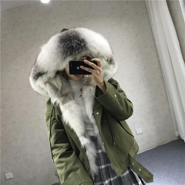 women new parkas real fox fur hoody collar liner 100% genuine army green coat genuine fur jacket warm thick female winter cloth